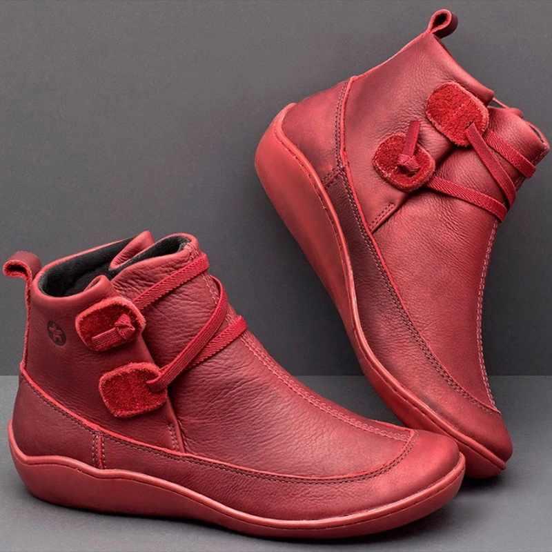 Yarım çizmeler kadın PU deri kış çapraz kayış Vintage peluş Punk sıcak kısa çizmeler düz bayanlar ayakkabı Botas Mujer