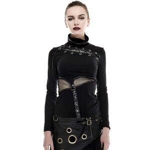 Image 2 - PUNK RAVE Steampunk col haut masque femme T shirts Stretch tricot couture élastique maille tissu hauts noirs Punk Rock T shirts gothique