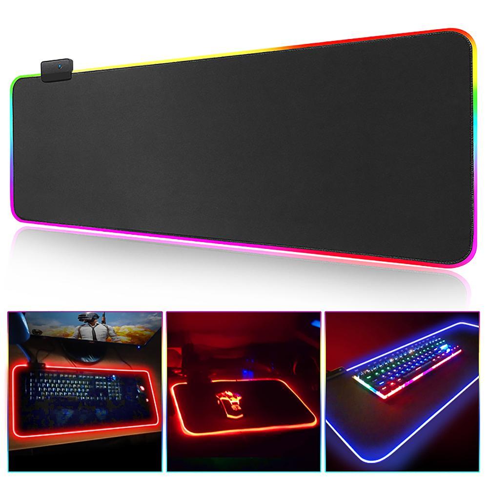 tapis de souris gaming avec eclairage rgb grand format xxl pour ordinateur de bureau accessoire pour joueur
