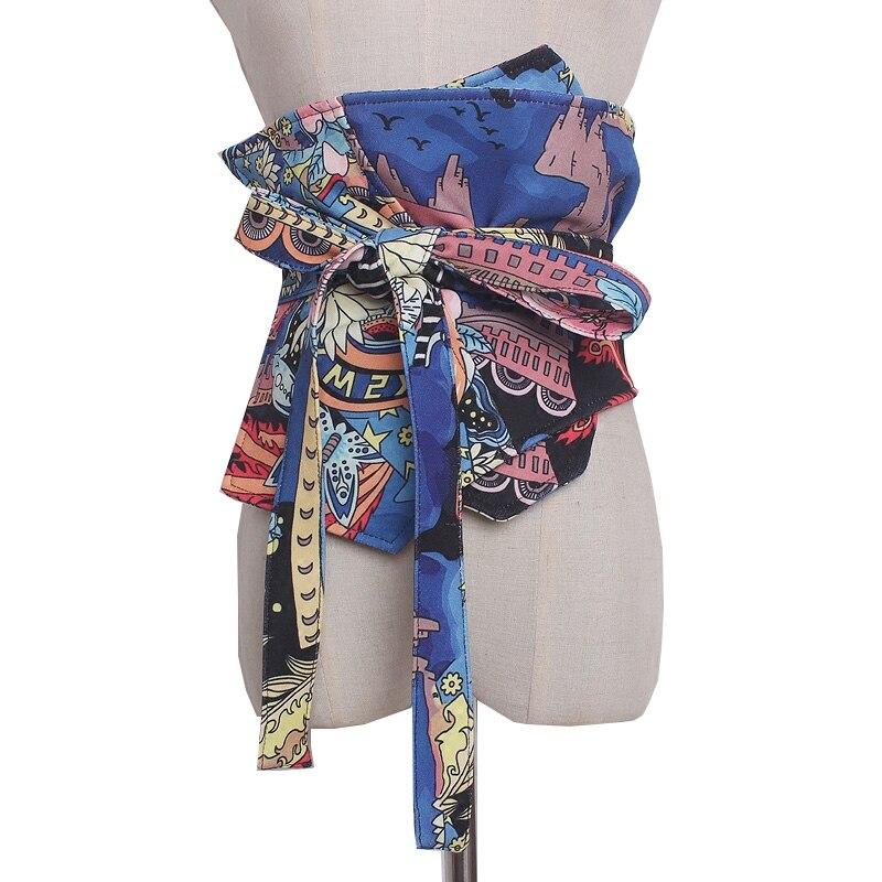 Printed Cummerbund Women Bandage Bow Tie Wide Belts Dress Coat Decorated Ceinture Self Tie Corset Bow Strap Ladies Japanese Belt