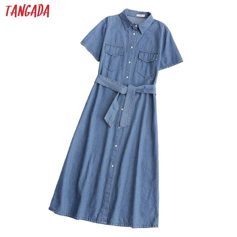 Tangada Fashion Women Solid Denim Dress With Slash Short Sleeve Pocket Ladies Work Midi Dress Vestidos 1D210
