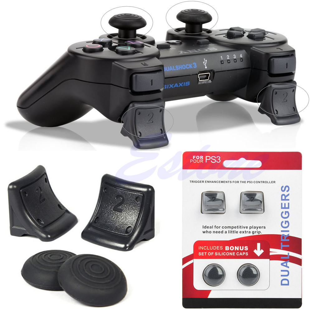 Dual Triggers Bonus Silicone Thumb Grip Cap Cover 4in1 Set For PS3 Controller R9UA
