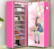 10 layer Shoe Cabinet шкаф тканевый Dustproof Non-woven Assembly Shoe Storage Stand with Side Pocket Shoe Organizer