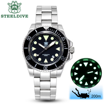 STEELDIVE 1986 reloj automático de 41mm de acero de 8215 los hombres reloj de pulsera de cristal de zafiro de aluminio bisel reloj mecánico de buceo 200m