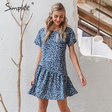 Simplee Sexy leopard print frauen kleid Elegante büro dame vintage kurze sommerkleid Sommer urlaub casual stil damen boho kleid