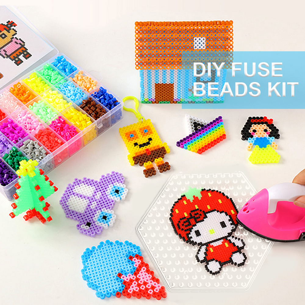 7pcs 5mm Clear Fuse Beads Boards Pegboards Template With 21pcs Pattern Cards For Kids Adults DIY Craft Educational Toys