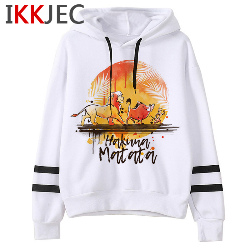 Hakuna Matata Harajuku Kawaii Print Hoodies Women Ullzang Funny Cartoon 90s Sweatshirts Graphic Korean Style Warm Hoody Female