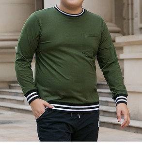 Image 5 - male oversized pocket t shirt mens military green cotton tshirts long sleeve striped T shirt korean streetwear soft pullover top