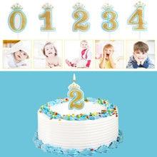 FenKicyen Geburtstag Anzahl Kerze 0 1 2 3 4 5 6 7 8 9 Kuchen Topper Kerze Goldene Glitter Party hochzeit Pie Dekoration Für Kind Geschenk