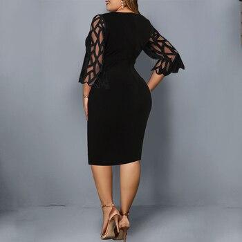 L-6XL Women Plus Size Dress Elegant Ladies Black Sheer Lace Sleeve Dress 2020 Chic Casual Printed Lace Evening Party Dresses D25 3