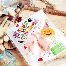 100pcs Halloween Candy Self-adhesive Bag Gift Plastic Bag Je