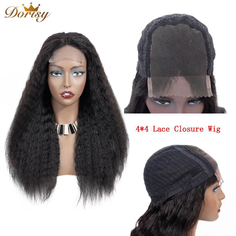 Lace Closure Wig 4×4 Kinky Straight Human Hair Wigs Lace Closure Human Hair Wigs For Malaysian Hair Dorisy Non Remy