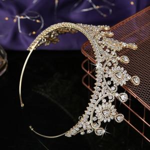 Image 5 - 크라운 HADIYANA 유행 꽃 디자인 여성 결혼 신부 헤어 액세서리 파티 헤어 쥬얼리 큐빅 지르콘 BC5576 코로나 Princesa