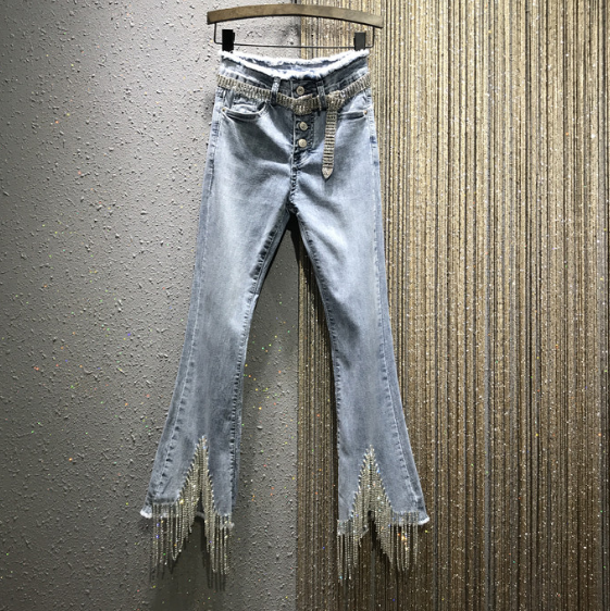 High-Waist Tassel Rhinestone Chain Jeans Woman Spring Summer New Slim-Fit Denim Ankle-Length Pants Jean Femme Jeansy Damskie