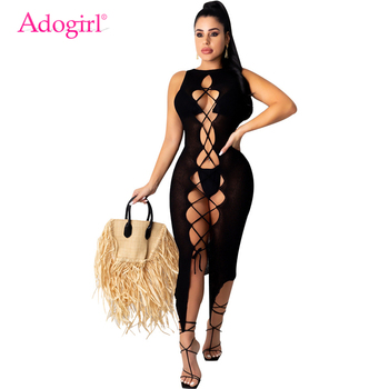 Adogirl Crisscross Lace Up Women Sexy Night Club Party Dress Hollow Out See Through Sleeveless Knitted Bodycon Midi Dress lace up stripes a line midi dress
