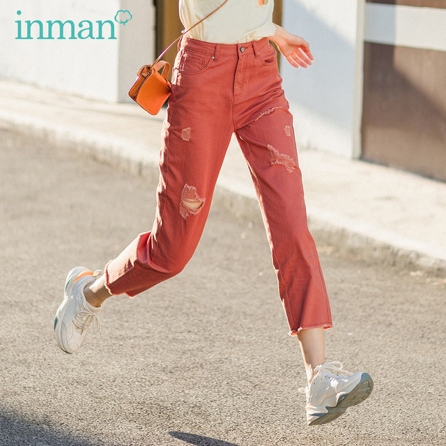 INMAN 2020 Summer New Arrival Pure Cotton High Waist Rough Selvedge Worn out Hole Loose Ankle Length Pant