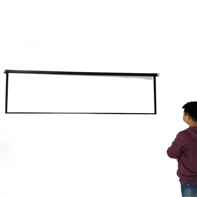 Thinyou Matte White Fabric Fiber Glass Curtain projector screen Pull Down 84 inch 16 9 for Home Theater Meetings Exhibitions in Projection Screens from Consumer Electronics