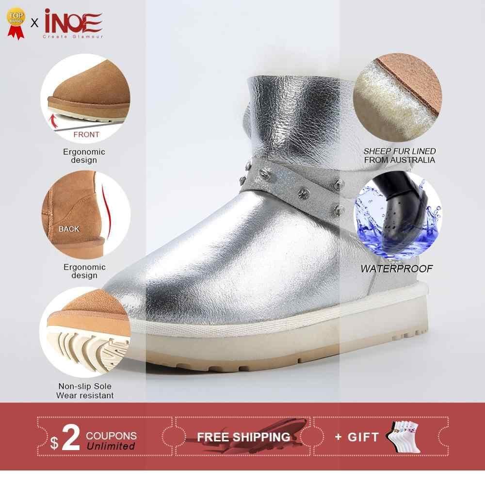 INOE Su Geçirmez Sheepksin Deri Shearlıng Yün Kürk Astarlı Kısa Ayak Bileği Kış Çizmeler Kadın Kar Botları Ayakkabı Gümüş Kristal Kayış