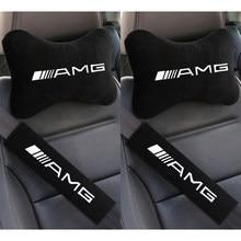 Um conjunto de carro 2 macio auto pescoço travesseiros e 2 auto cinto de segurança capa conforto resto viagem almofada para mercedes benz amg w211 w203 w20