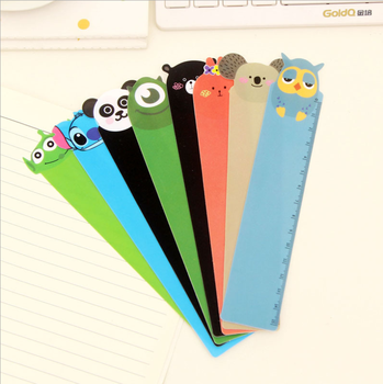 1PCS Creative Student drawing ruler cute PVC 15cm loverly cartoon animal bookmark plastic Children Prizes School Office Supplies image