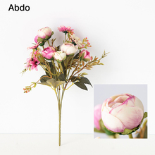 12 Heads Tea Rose Artificial Flowers Ball Bunch 30cm/long Fake Silk DIY Home Decor Faux Wedding Decoration Table