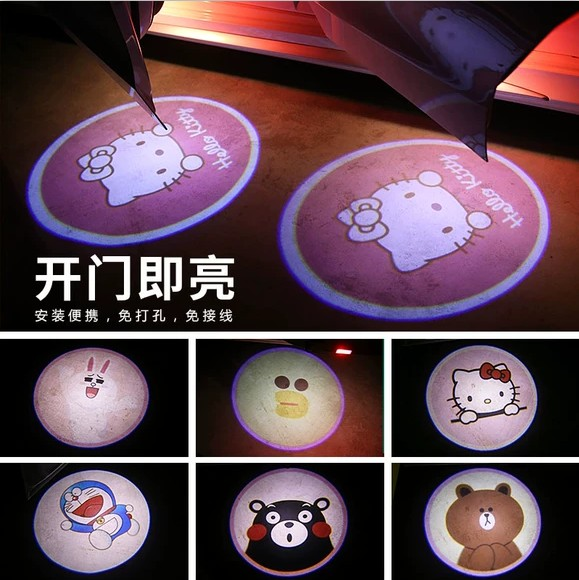 1PCS Car Shadow Door Light Cartoon Wireless Laser Projector Logo Led Welcome Lamp For Mini Cooper Car-styling Accessories