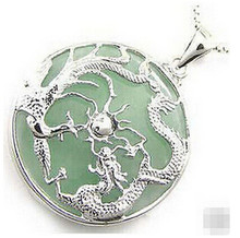 +++901 Pretty Silver Dragon Phoenix Natural green Jade Pendant and Necklace(China)
