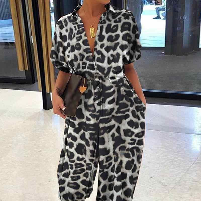 Sommer Leopard Print Overalls Frauen Celmia 2020 Casual Kurzarm V-ausschnitt Sexy Strampler Damen Streetwear Playsuits Overalls