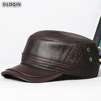 SILOQIN New Real Genuine Leather Hat Army Military Hats Men's Flat Cap Sheepskin Leather Cap Adjustable Size Male Bone Brand Cap