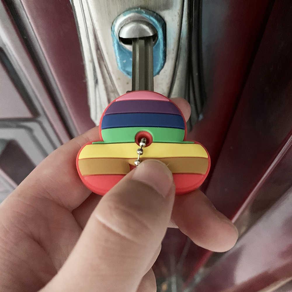 2 قطعة لطيف الكرتون غرزة المفاتيح واقية غطاء علبة مفاتيح من السيليكون للنساء حلقة رئيسية حامل غطاء هدية مجوهرات سلسلة مفاتيح