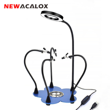 NEWACALOX Soldering Station 3X LED Magnifier Soldering Helping Hands 3 Color Magnifying Glass Soldering Lamp Third Hand Tool