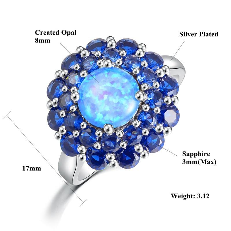 CiNily Oluşturulan Mavi Ateş Opal Mavi Zirkon Gümüş Kaplama - Kostüm mücevherat - Fotoğraf 2