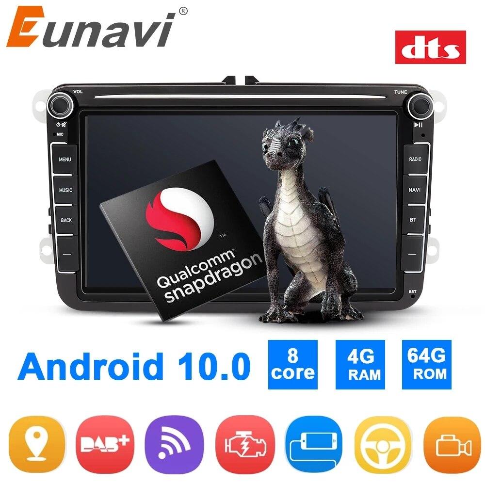Autoradio Android Eunavi 2Din GPS pour VW Passat B5 B6 CC Polo GOLF 5 6 Touran Jetta Tiguan Touran Bora Magotan CC Autoradio DSP