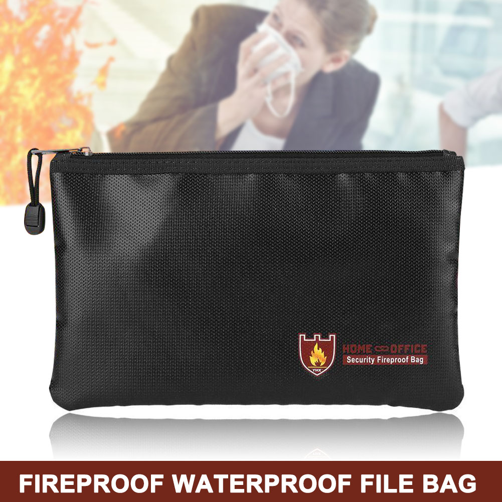 Fireproof Document Bag Fire Resistant Waterproof Envelope Pouch For Passport Money Files FKU66
