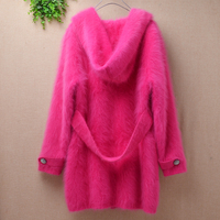 Ladies women fashion sweet rose color hairy fuzzy mink cashmere belt loose cardigans angora fur winter knitwear sweater clothing