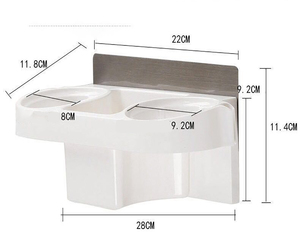 Image 5 - Multifunctionele Badkamer Opslag Föhn Houder Douche Organisator Zelfklevende Muur Gemonteerd Plastic Plank Shampoo Stijltang