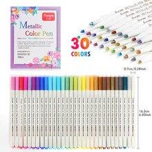 30 cores escova macia metálico marcador canetas à prova dquick água secagem rápida para fazer cartão artesanato arte pedra pintura vidro arte caneta papelaria
