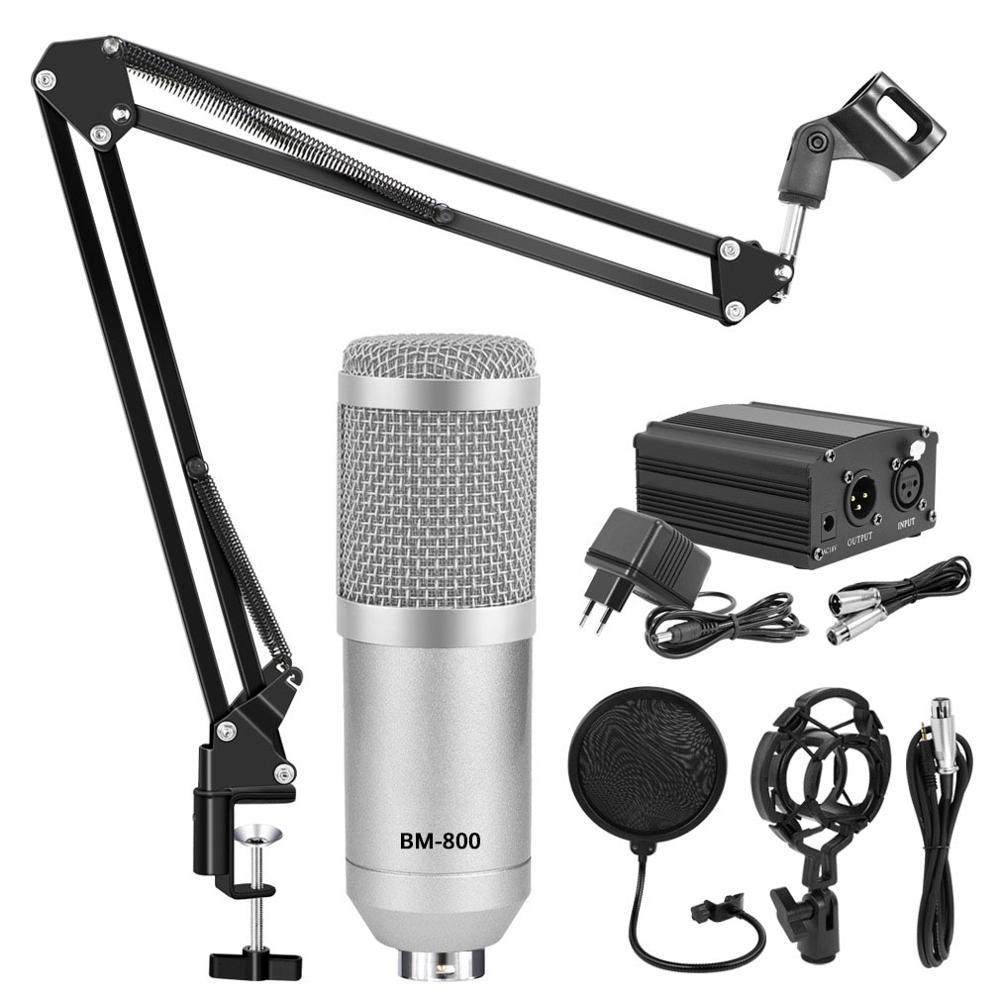 Конденсаторный микрофон bm800 в комплекте, студийный, микрофон для караоке, подставка в комплекте, поп-фильтр, фантомная зарядка