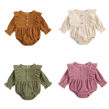 Infant Baby Girl Corduroy Romper Newborn Baby Girl Solid Causal Long Sleeve Jumpsuit With Button Closure Spring Autumn Clothing