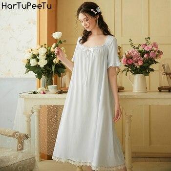 Women Home Wear Cotton Night-Robe Retro Victorian Style Short Sleeve Summer Nightdress Court Princess Lace Sweet Loose Pajamas lace panel lantern sleeve nightdress