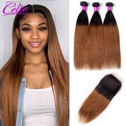 Celie Hair 1B 30 Ombre pasma prostych włosów z zamknięciem brazylijskie włosy 3 wiązki z zamknięciem kolorowe wiązki z zamknięciem