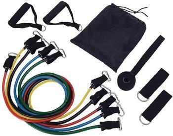 Juego de banda de resistencia para ejercicios portátil apilable de hasta 150 libras (5 bandas apilables de ejercicio con anclaje de puerta, correas de tobillo transportables