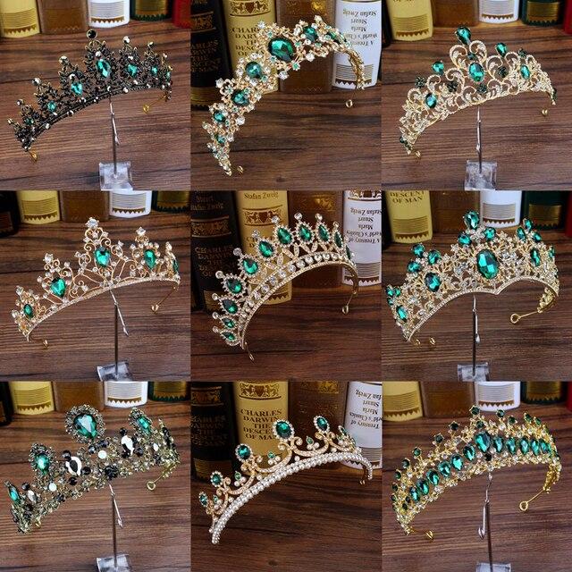 Роскошные Зеленые хрустальные диадемы в стиле барокко, стразы, Свадебные короны и диадемы, повязка на голову для свадебной вечеринки, выпус...