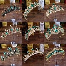 Diadema barroca de cristal verde de lujo, diademas y Tiaras nupciales con diamantes de imitación para boda, fiesta, baile de graduación, accesorios para el cabello