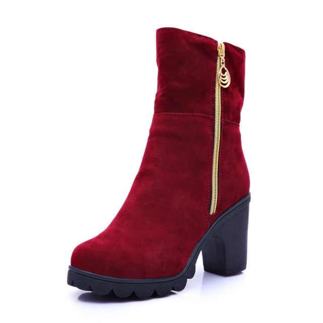 2019 yeni sonbahar/kış bayan çizme moda kısa stil tüm maç yuvarlak ayak kalın topuk ayakkabı olmayan kayma orta çizme