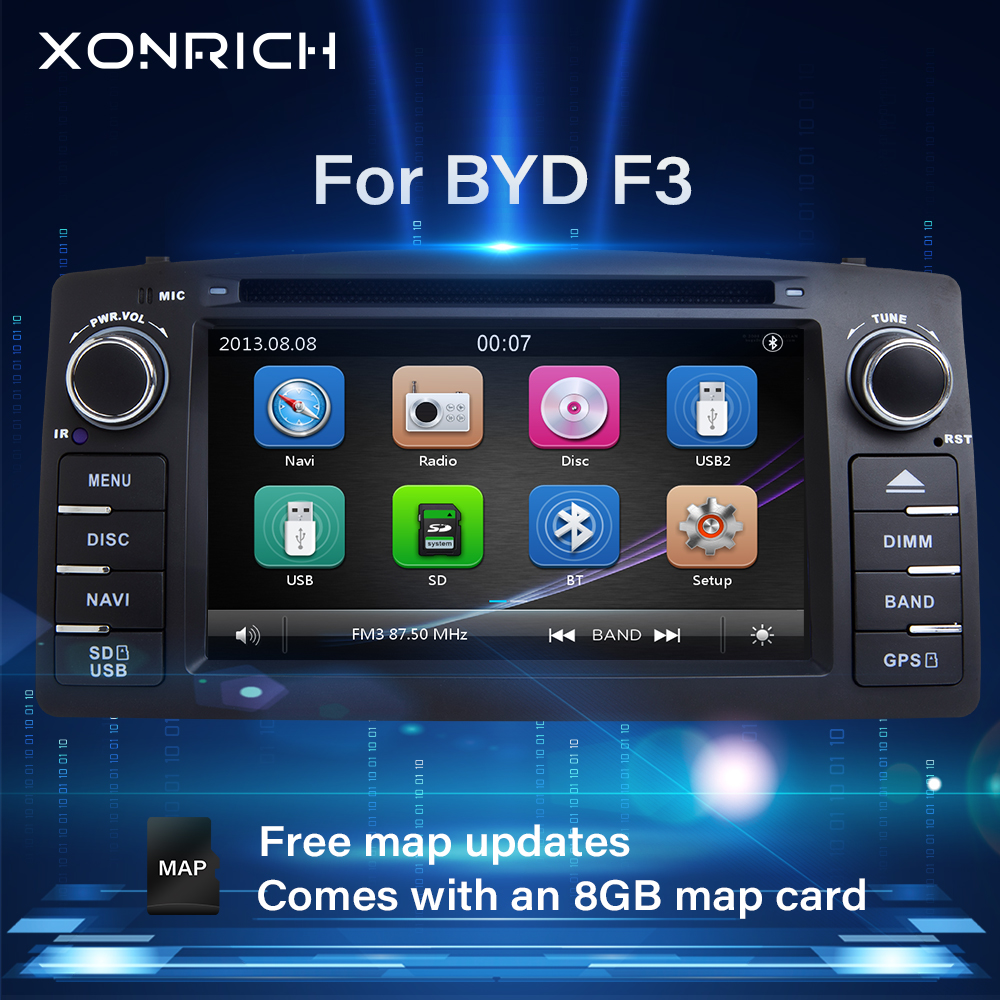 Xonrich 2 Din Car Radio DVD Player For Toyota <font><b>Corolla</b></font> <font><b>E120</b></font> BYD F3 2000 2005 2006 Multimedia GPS Head Unit Stereo NavigationAudio image