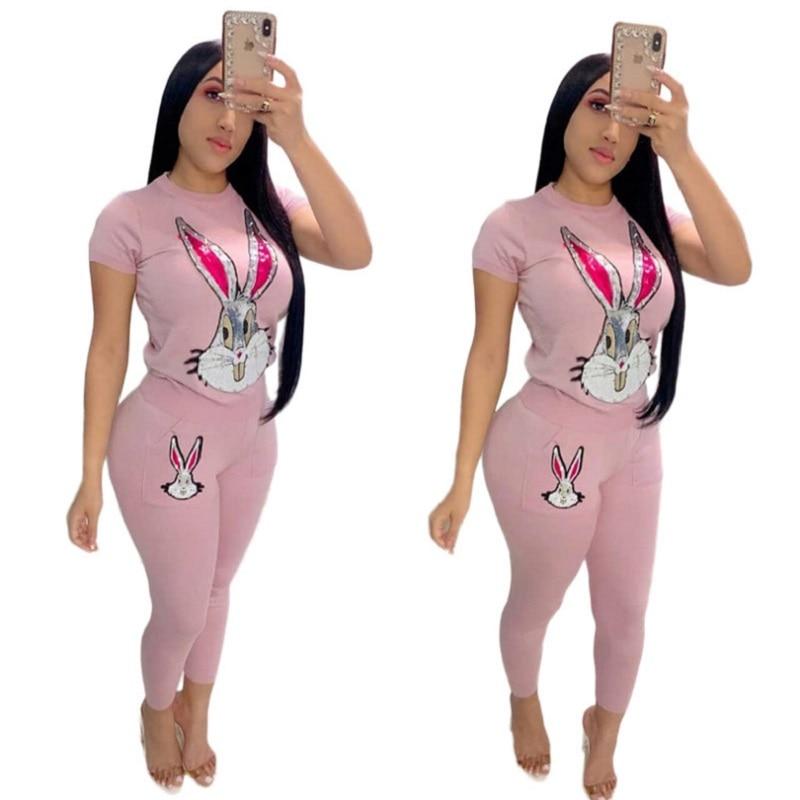 Conjunto de roupas apertadas roupas femininas sexy padrão dos desenhos animados emendado manga curta t e lápis calças 2 peça conjunto clube roupa