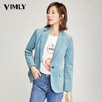 Vimly Office Ladies Solid Blazer Vintage Corduroy Women Business Jacket Coat Elegant Autumn Winter Outwear