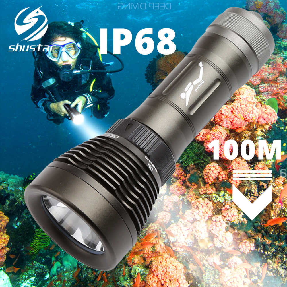 IP68 Lanterna Mergulho Dive Torch Pode mergulhar 100 metros interruptor Rotativo Color rendering index Ra80 anfíbio por 18650/26650 bateria