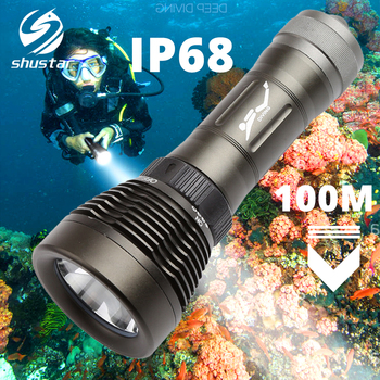 IP68 Diving Flashlight Dive Torch Can dive 100 meters Rotary switch Color rendering index Ra80 amphibious by 18650/26650 battery
